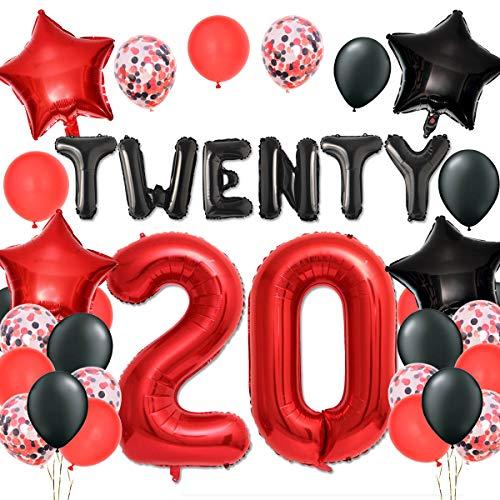 Kreatwow 20. Hochzeitstag Party Dekorationen Rote und Schwarze Luftballons Set für Prost auf 20 Jahre Party Dekor
