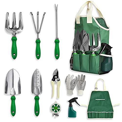 GardenHOME Herramientas Jardinería - Kit Jardineria 11 Piezas,Herramientas JardinRegalos de Jardín para Mujeres y Hombres