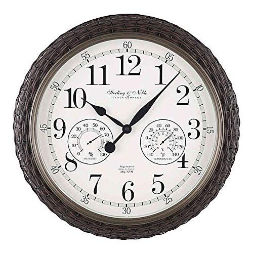 Sterling & Noble Woven 23.5-INCH Outdoor Wall Clock/Weather Station in Dark Brown