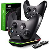 Xbox One Controller Charger, CVIDA Dual Xbox One/One S/One Elite Charging Station with 2 Rechargeable Battery Packs for Two Wireless Controllers Charge Kit– Black