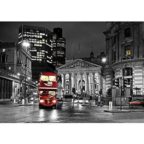 Vlies Fototapete 350x245 cm PREMIUM PLUS Wand Foto Tapete Wand Bild Vliestapete - London Tapete London Bus Lightning Nacht Skyline rot - no. 538