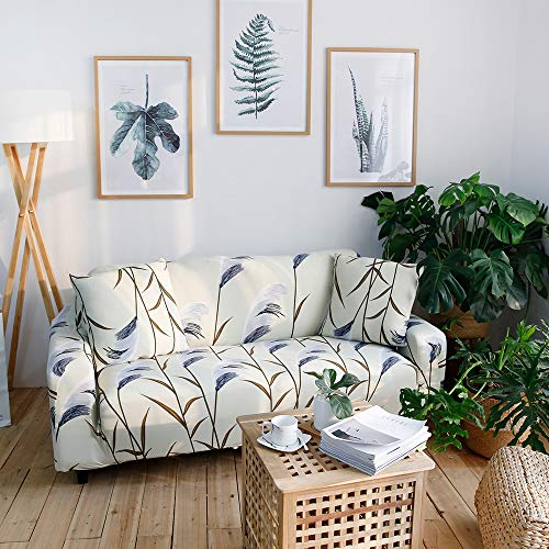 Jaoul Floral Stretch Couch Cover Printed Sofa Slipcovers for Loveseat 3 Cushion Couch Slipcover Furniture Sofa Covers with 2 Pillow Cases (Cream 01#, 3 Seater/Large 2 Seater)