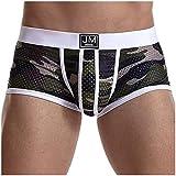 Boxer Culotte Confortable sous-VêTements Sexy pour Hommes Shorts Panties Respirants Push Up Gay Freegun Ouvert Dim Lot Coton Eminence Taille Haute Basse Sport Pulse Nylon Filet