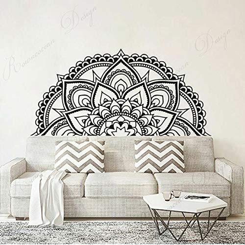 Half Mandala Lotus Wall Sticker Vinilo Decoración del hogar Sala de Estar Dormitorio Calcomanía Fondo extraíble Mural Wallpaper