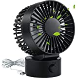 Kakuru Small Portable USB Desk Fan, Quite Cooling Table Fan for Home, Office, Car, Travel, Camping, Outdoor, Indoor 2 Speed Setting, Black