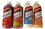 Sauces Bundle, Tomato Ketchup, Chilli & Garlic, Garlic Mayo, Burger Sauce. Crucials Barbecue Selection 4 x Large 500ml Bottles