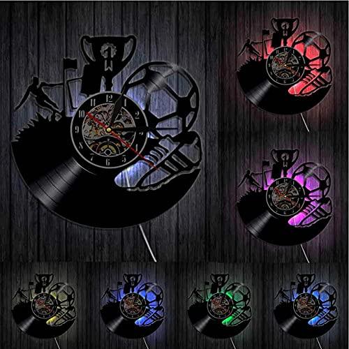 Equipo de fútbol Campeones Deportes Fan Regalo Trofeo de fútbol Reloj de Vinilo de Pared Disco de Vinilo Arte de la Pared Zapatos de fútbol Decoración de Pared-LED