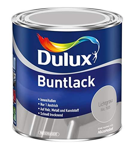 Dulux Buntlack Glänzend Wasserbasiert für Innen/Außen auf Holz, Metall und Kunststoff (500 ml, Lichtgrau RAL 7035)