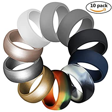 LUNIQI Silicone Wedding Ring For Men, Durable Rubber Safe Band For Love, Couple, Souvenir and Outdoor Active Exercise Style-10 Rings Pack