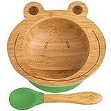 Bol Ventouse pour Bébé et Cuillère en Bambou Naturel | L'Original 'Bambol' par Finkolo | Forme Grenouille | Vaisselle Apprentissage | Coffret Repas Assiette