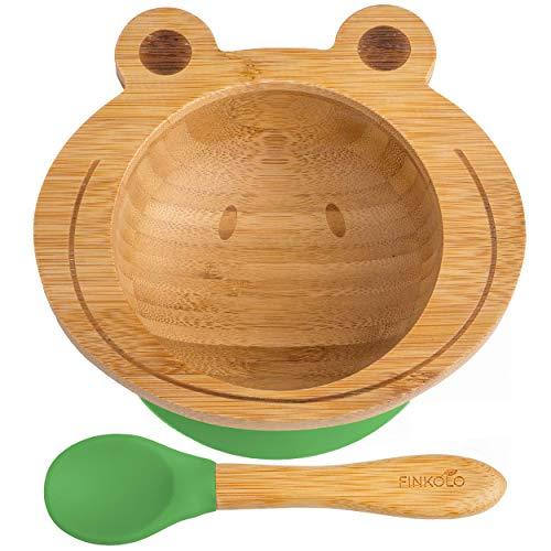 Finkolo - Ciotola a ventosa per neonati e cucchiaio, in bambù naturale, motivo: rana