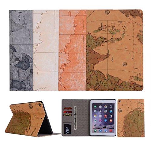 2017 iPad 9.7 Coque, Avril Tian Modèle de Carte Fin Support à Rabat Folio Avec Fentes de Carte D'écran de Protection Smart Magnétique Case Cover pour Tablette Apple Nouvel iPad 9.7 pouce 2017 Released