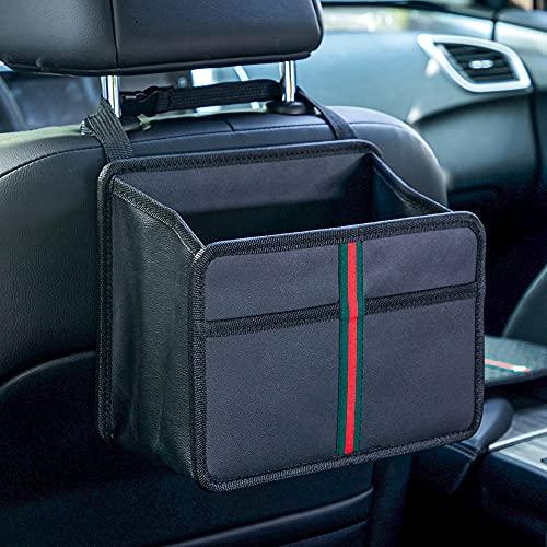 Car Back Seat Organizer, Premium PU Leather Front-Backseat Car Organizer, Ultra-Durable Foldable Multi-Function - Universal Hanging Car Seat Organizer for Kids & Adults
