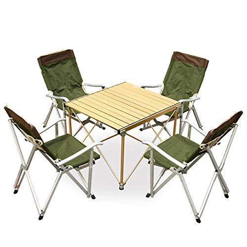 DX Vouwtafel Outdoor Tafel en Stoel Set Aluminium Draagbare Barbecue Tafel (Lokaal Goud) Vier (Militair Groen)