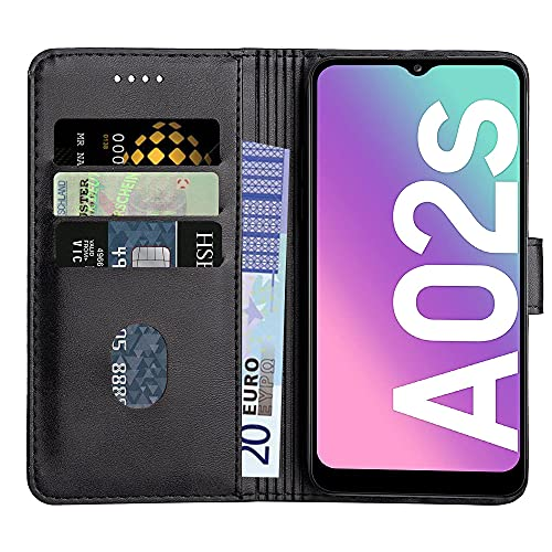Baiyian Ledertasche Brieftasche Schutzhülle Flip Hülle für Samsung Galaxy A02s, Schwarz