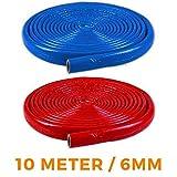 6mm NMC Isolierschlauch 15/18/22/28/35 10m Rohrisolierung BLAU/ROT (6mm x 28mm x 10m, Blau)