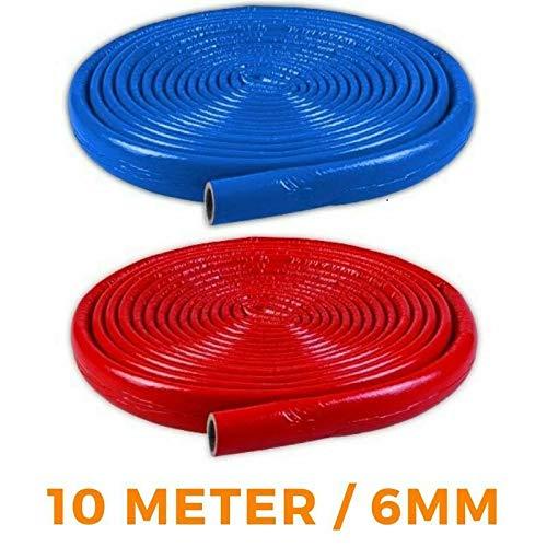 6mm NMC Isolierschlauch 15/18/22/28/35 10m Rohrisolierung BLAU/ROT (6mm x 18mm x 10m, Rot)