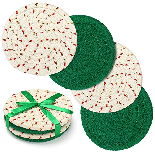 Coasters Set, Christmas Gift Trivets Handmade Pure Cotton Thread Weave Cloth Coasters with Gift Package, Hot Pads Absorbant Coasters for Drinks Set of 4 by 4.3 inches Protect Furniture (Sante Green)