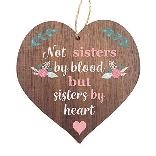 Hermana de madera mejor amigo, con cuerda para colgar), forma de corazón con texto en inglés hermana Love Sign