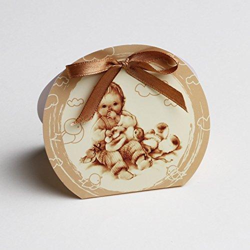 Les gourmandises de Heidi Ballotins à dragées - boites à dragées Forme louna thème Enfant Doudou Marron rétro x10 Mariage baptême Communion Anniversaire