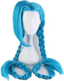 Kadiya Beautiful Extra Long Bright Blue 2 Braids Girls Anime Manga Role Cosplay Costume Wig Hair