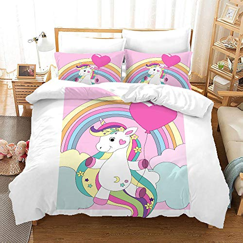 BFSOC 3 Pieces Duvet Cover -Pink Rainbow Unicorn -3D Printed Bedding Quilt Duvet Cover With Zipper Closure for Adults, Ultra Soft Hypoallergenic Microfiber 94.5 X 86.7 inch