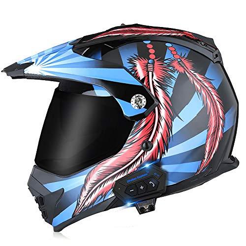 Cascos Bluetooth de la motocicleta, casco de la motocicleta de la cara completa del todoterreno incorporado Mp3 FM Radio Sistema de comunicación integrado de intercomunicación, C, M