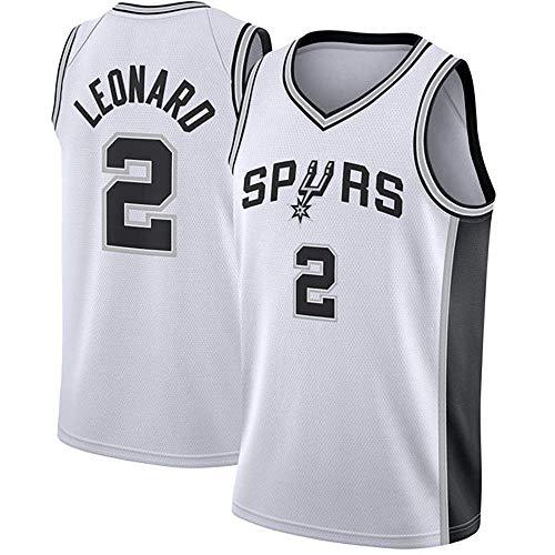 YCJL Basketball Jersey Herren NBA-San Antonio Spurs # 2 Leonard Retro-Trikots, atmungsaktives Swingman-Gewebe, Unisex-Basketball-T-Shirt,B,S:170cm/50~65kg