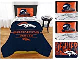 Northwest NFL Denver Broncos 8pc Twin Bedding Set - Includes Twin Comforter, Rug, 2 Flat Sheets, 2 Fitted Sheets, and 2 Pillowcases