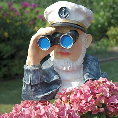 Dekofigur Kapitän mit Fernglas Spanner Beobachter Gartenfigur Maritim