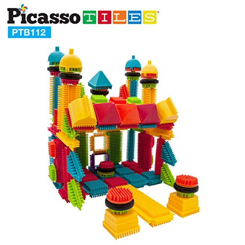 PicassoTiles PTB112 112pcs Bristle Shape Blocks Building Tiles Set Construction Learning Toy Stacking Educational Block Creativity Beyond Imagination Inspirational Recreational Educational