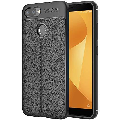 ebestStar - kompatibel mit Asus Zenfone Max Plus M1 Hülle ZB570TL Lederhülle Design TPU Handyhülle Schutzhülle, Flex Silikon Hülle, Schwarz [Phone: 152.6 x 73 x 8.8mm, 5.7'']