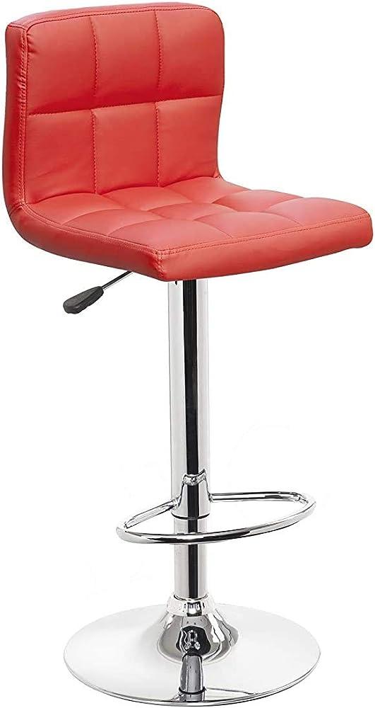 Totò piccinni, sgabello con schienale, girevole 360°, regolabile in altezza, base in acciaio cromata, rosso