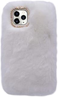 Losin Plush Case Compatible with Apple iPhone 11 Pro Max 6.5 inch Fashion Luxury Diamond Bowknot Cute Fuzzy Furry Winter Rabbit Hair Warm Plush Fluffy Fur Soft TPU Back case