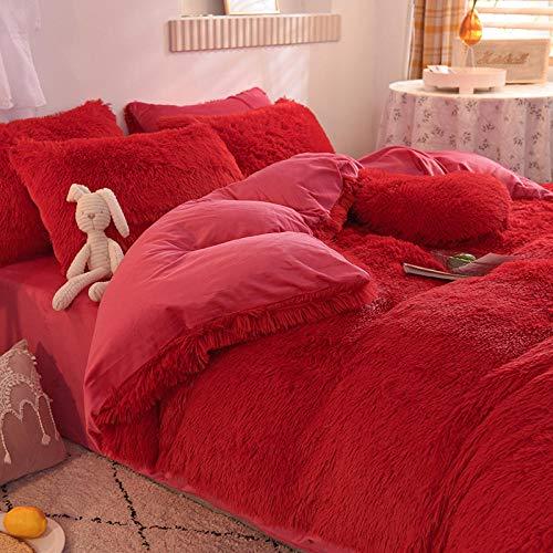 teddy fleece bedding double blue,Duvet Cover Set king Size-3 Pcs Ultra Soft Hypoallergenic Microfiber Quilt Cover Sets-D_1.8m bed (4 pieces)