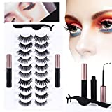 10 Kinds of 3D 5D Magnetic Eyelash Kit with Different Density, Magnetic Eyelashes with 2 Magnetic Eyeliners and 1 Tweezers, for Women and Girls Natural Look No Glue Needed.