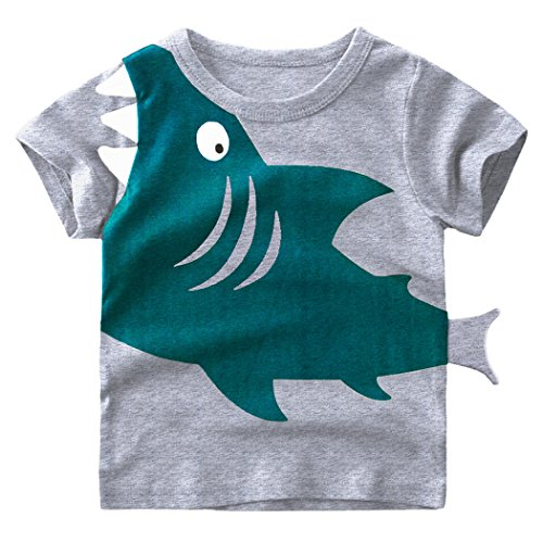 Tecrok Little Boys Short Sleeve Shark Tee Cotton Toddler Kids Casual T-Shirt For Age 2-8 Years, Gray, 4