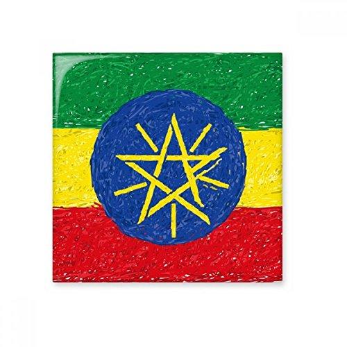 DIYthinker Rood Geel Groene Strepen Ethiopië Vlag Nationale Culturele Element Keramische Bisque Tegels Voor Het verfraaien Badkamer Decor Keuken Keramische Tegels Wandtegels Small