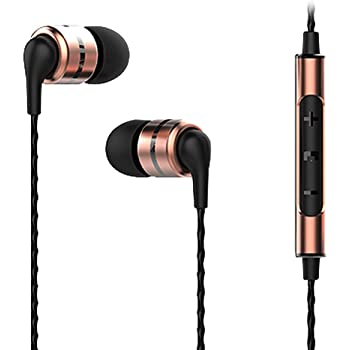 SoundMAGIC E80C in Ear Headphone with Mic, Wired Earbuds Sound Isolating Headphones with Remote for Audiophiles - Gold