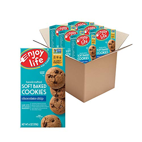 Enjoy Life Foods Chocolate Chip Soft Baked Cookies, Soy Free, Dairy Free, Non GMO, Gluten Free, Vegan, Nut Free Cookies, 6 Boxes, 051559, 36 ounce (Pack of 6)