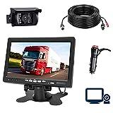 Kit Caméra de Recul et Moniteur Filaire, 7 Pouces écran LCD TFT et Caméra de Recul étanche de Vision Nocturne Stabilité du Signal d'image en Temps Réel pour Bus/ Camion/ remorque/ Camping