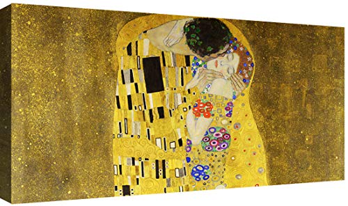 Canvashop Quadri Moderni Il Bacio di Klimt cm 120x60 Quadro Stampa su Tela Canvas Soggiorno