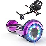 GeekMe Hoverboards with Off Road seat,Hoverboards with Off Road-Kart,Segway for kids,6.5 Inch Electric Scooter with Bluetooth Speaker,LED Lights,Children Gift