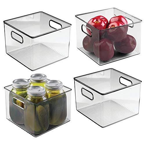 mDesign Plastic opbergdoos - Deep Open-Top Koelkast opbergvak met handvat - Gebruik als Koelkast dienblad, Plankdoos of voor Kast Opslag Pack of 4 Rook