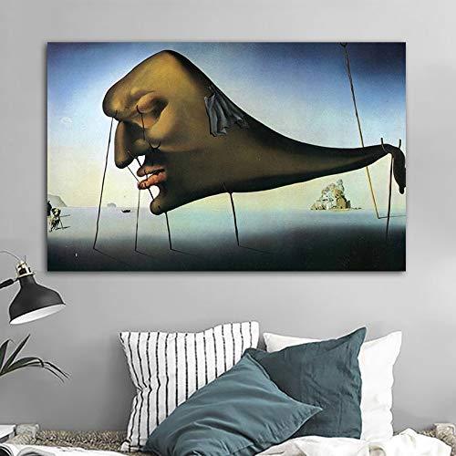 No frame Abstract gezicht Salvador Dali Artwork Canvas schilderij Wall Art foto voor woonkamer posters en prints Home Decor 50x75cm