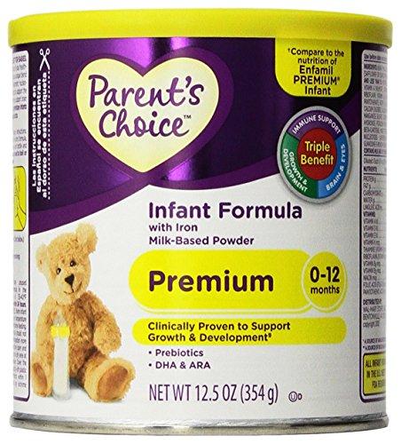 Parent's Choice Infant Formula - Premium 0 to 12 Months For Newborns & Infants - Prebiotics/DHA & ARA - Net Wt. 12.5 OZ (354 g) - 1 EA