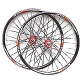 MTB VTT Paire Roues Vélo 26 Pulgadas / 27,5 Pulgadas Juego de Ruedas de Bicicleta de montaña Jante Alliage Double Paroi Frein Disque 8-11 Vitesse QR 32H (Color: Rojo, tamaño: 69,8 cm)