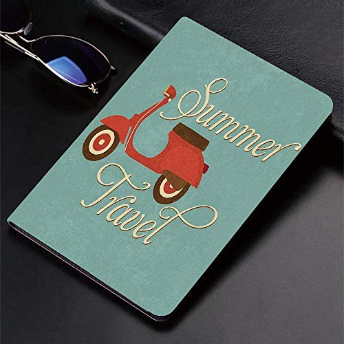 Case for iPad (9.7-Inch, 2018/2017 Model, 6th/5th Generation)Ultra Slim Lightweight Smart Cover,1960s Decorations,Summer Travel Scooter Vacation Vespa Classic Wheels Rock ,Smart Covers Auto Wake/Sleep