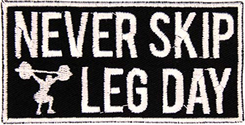 """Gym Bag Never Skip Leg Day Patch Iron-On Applique - Black, White - 4"""" x 2"""" Rectangle - Made in The USA"""