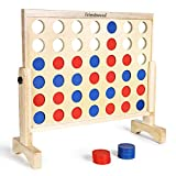 A11N 4-in-a-Row Game with Carrying Bag | Oversized 26x24 inch board | Premium Wooden 4 Connect Game for Family Fun